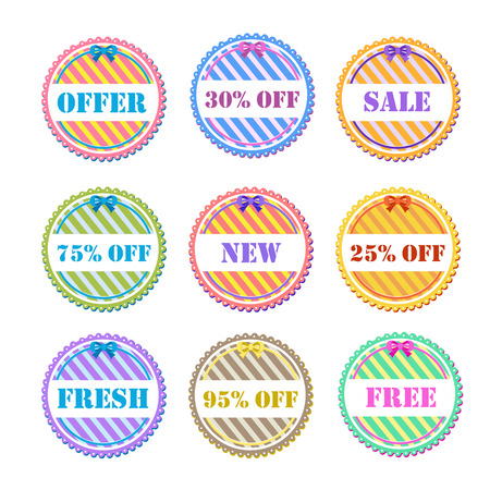 set of vector labels in different colors Vector