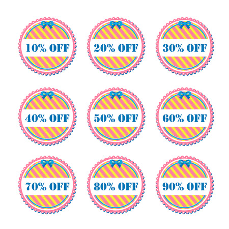 sell off: Set of vector stickers and discount labels Illustration