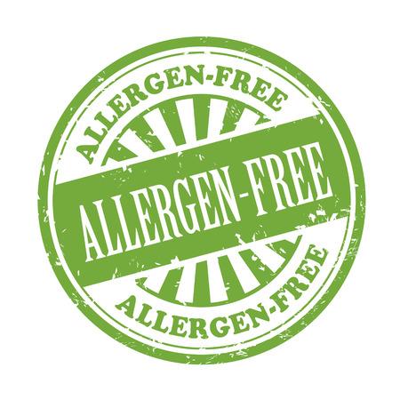 allergen: allergen-free grunge rubber stamp over white background