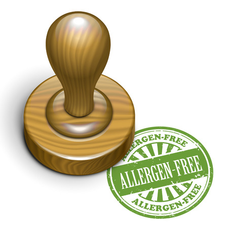 rubberstamp: illustration of grunge rubber stamp with the text allergen-free written inside