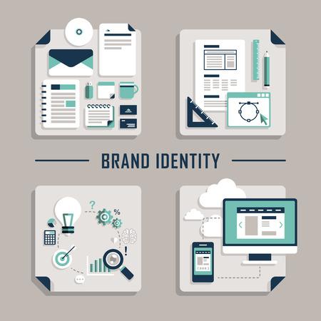 marca libros: Conjunto de diseño de planos Iconos vectoriales concepto de identidad de marca Vectores