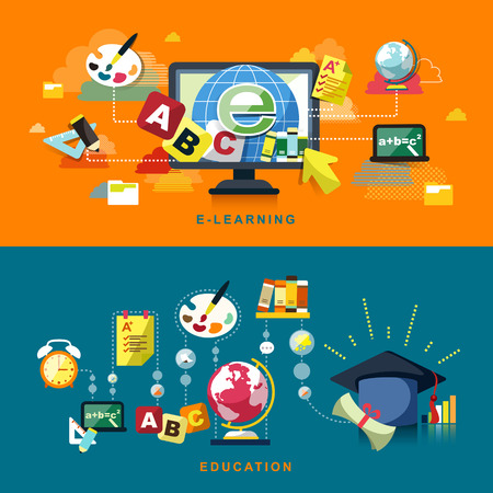 flat design concept of education and online learning Vector
