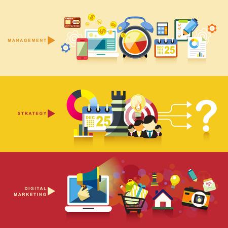 フラットなデザインの概念管理、戦略およびデジタル マーケティング