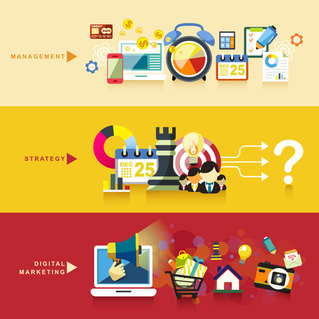 contents: flat design concept of management, strategy and digital marketing Illustration