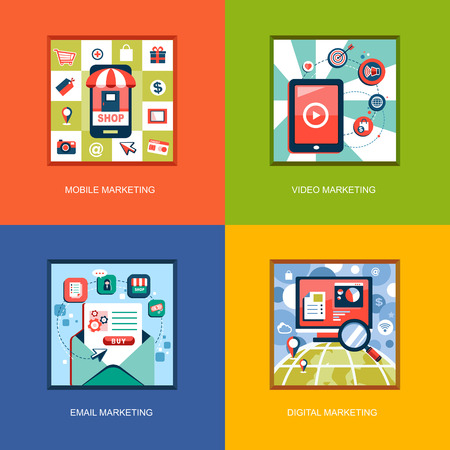 content management: set of flat design concept icons for web and mobile phone services and apps. Icons for mobile marketing, email marketing, video marketing and digital marketing.