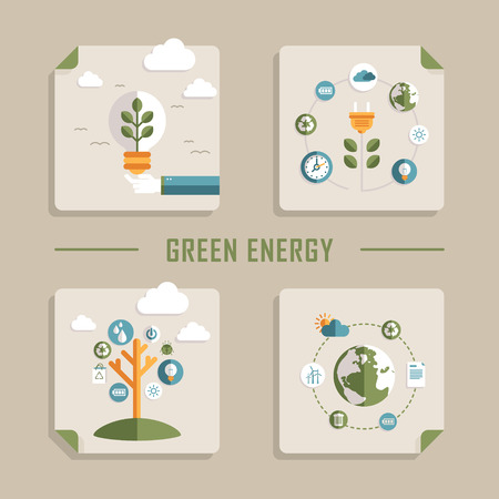 commercial recycling: set of flat design vector concept icons for green energy