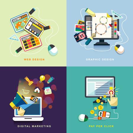 per: flat design concept of web design, seo, social media and pay per click