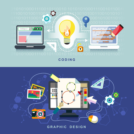 business software: flat design concept of graphic design and coding