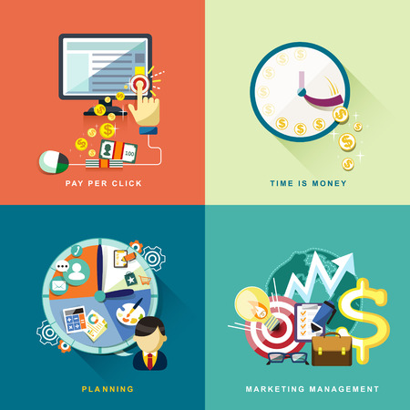 flat design concept of pay per click, planning, marketing management, time is money Vector