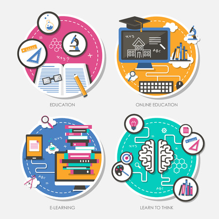 oktatás: állítsa a lapos kivitel vektoros illusztráció oktatás, online oktatás, e-learning, tanulni gondolkodni
