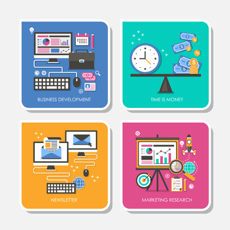set van platte ontwerp vector illustratie voor business development, tijd is geld, nieuwsbrief, marktonderzoek Stock Illustratie