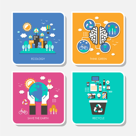 save the environment: set of flat design vector illustration for ecology, think green, save the earth, recycle Illustration