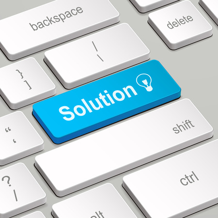 business results: message on keyboard enter key, for solution concepts