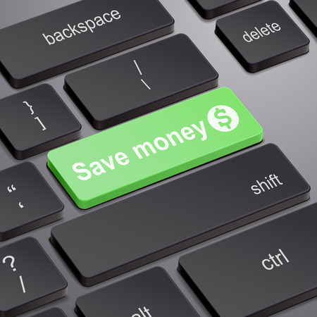 save button: message on keyboard enter key, for save money concepts Illustration