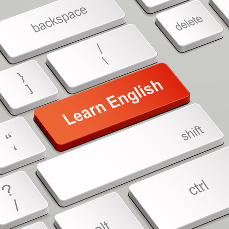 message on keyboard enter key, for learning English concepts Vector
