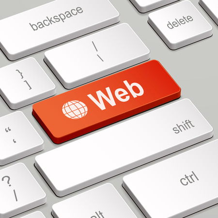 web site design template: message on keyboard enter key, for web concepts