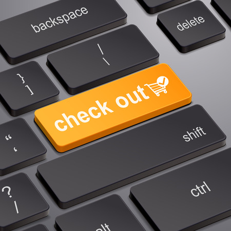 check out: message on keyboard enter key, for check out concepts