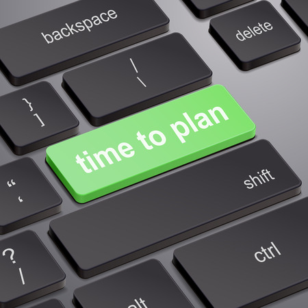 prognoses: time to plan concept with key on computer keyboard