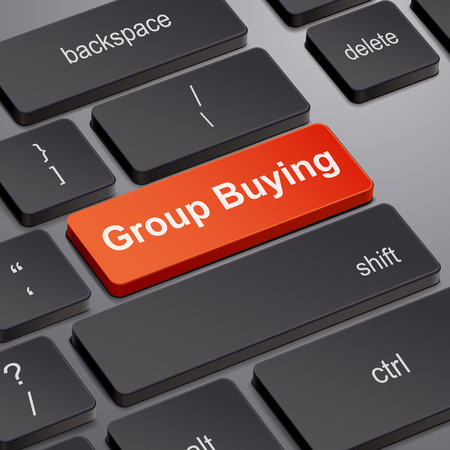 retailers: message on keyboard enter key, for group buying concepts Illustration