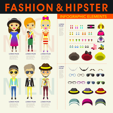 vector stylish and hipsters people infographic elements Vector