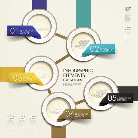 現代の 3 d ベクトル フロー チャート紙のインフォ グラフィック要素を抽象化します。  イラスト・ベクター素材