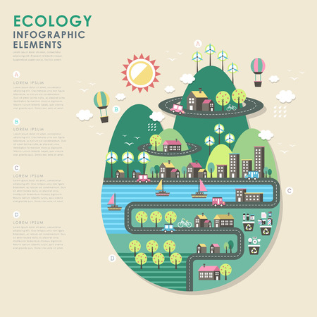 city  buildings: vector ecology illustration infographic elements flat design