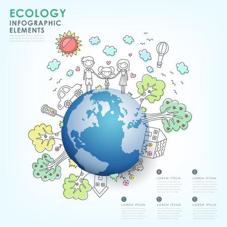 Main vecteur tracé écologie illustration infographie conception des éléments Banque d'images - 28244461