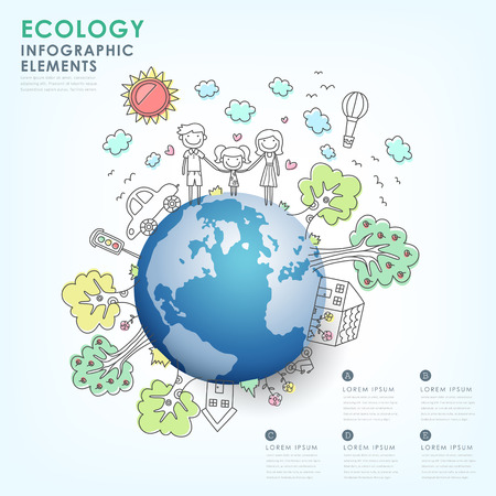 hand drawn vector ecology illustration infographic elements design Illustration