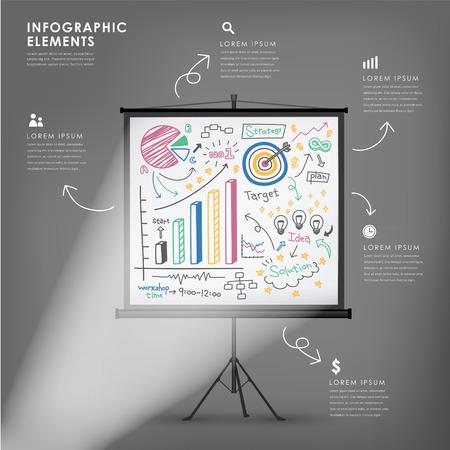 projectiescherm vector illustratie infographics elementen ontwerpen Stock Illustratie