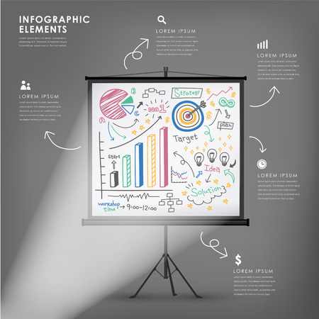 projection screen: projection screen vector illustration infographics elements design Illustration