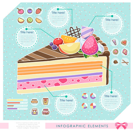 hand draw style vector dessert infographic elements Vector