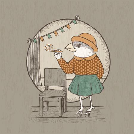 anthropomorphic: vector illustration of hand drawn retro style lady bird Illustration