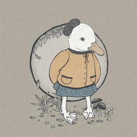 vector illustration of hand drawn retro style cute duck