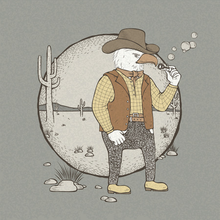 anthropomorphic: vector illustration of hand drawn retro style cowboy eagle