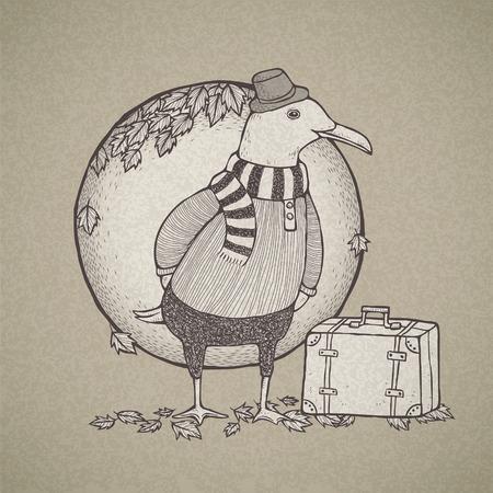 reiste: Vektor-Illustration von Hand gezeichnet Retro-Stil reiste M�we