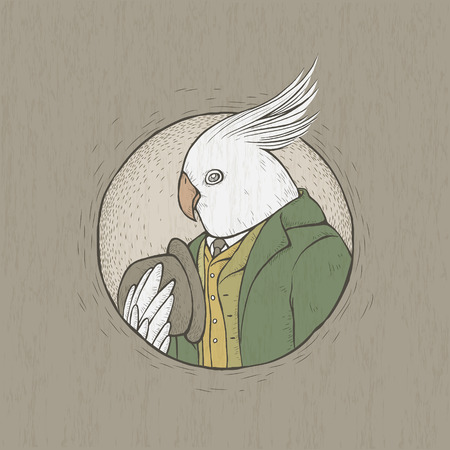 vector illustration of hand drawn retro style gentleman parrot
