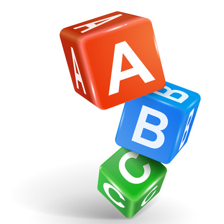 vector 3d dados con palabra ABC sobre fondo blanco Vectores