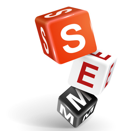 vector 3d dice with word SEM Search Engine Marketing on white background Vector