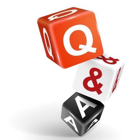 vecteur dés 3d avec le mot Q et A de questions et réponses sur le fond blanc
