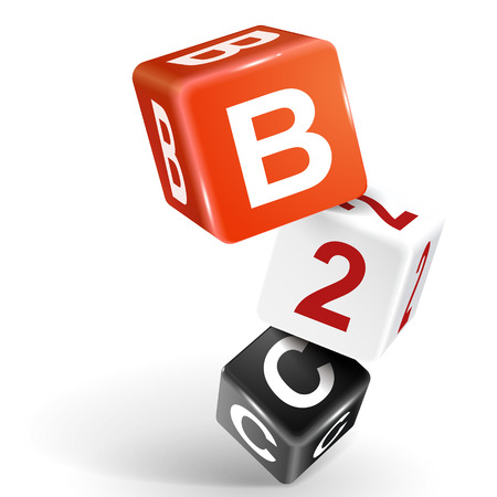 b2c: vector 3d dice with word B2C business to consumer on white background