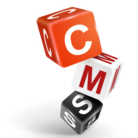 management system: vector 3d dice with word CMS content management system on white background