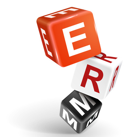 erm: vector 3d dice with word ERM enterprise risk management on white background