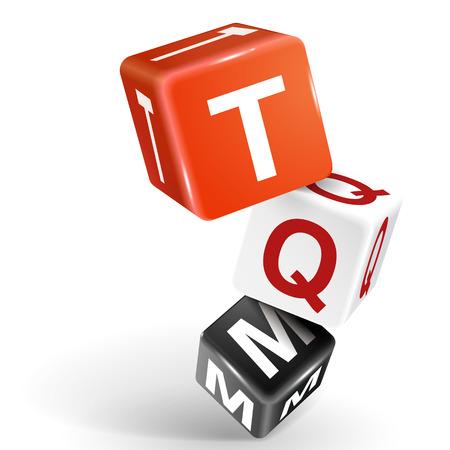 totales: vector 3d dados con la gesti�n de calidad total de palabras TQM en el fondo blanco