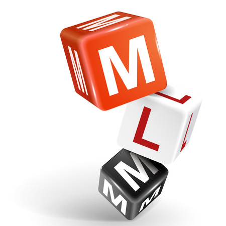 mlm: vector 3d dice with word MLM Multi Level Marketing on white background