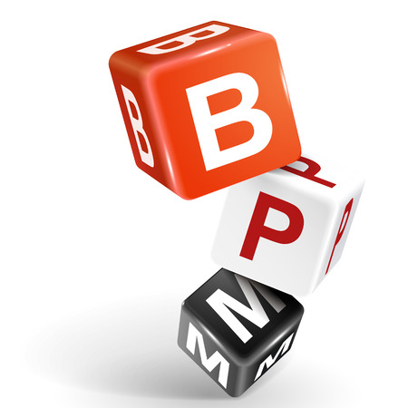 bpr: vector 3d dice with word BPM business process management on white background