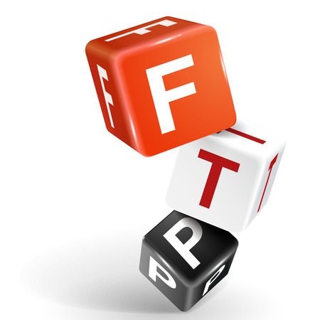 distributed: vector 3d dice with word FTP File transfer Protocol on white background Illustration