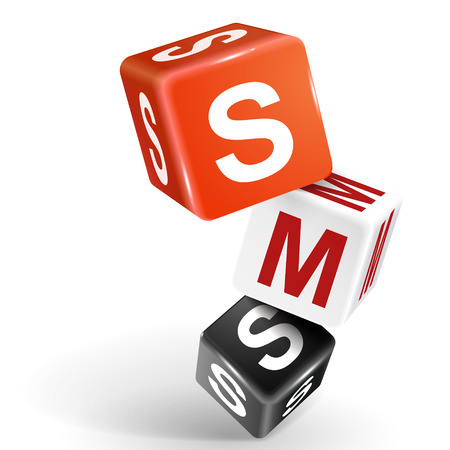short message service: vector 3d dice with word SMS short message service on white background