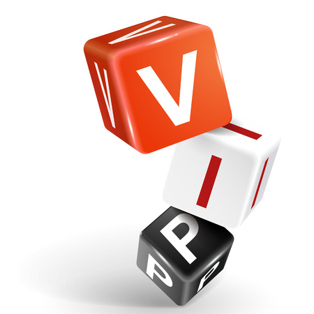 vector 3d dice with word VIP very important person on white background Vector