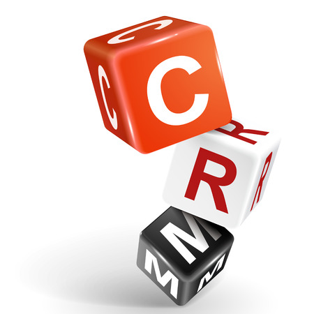 relationship management: vector 3d dice with word CRM Customer Relationship Management on white background Illustration