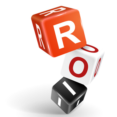 vector 3d dice with word ROI return on investment on white background